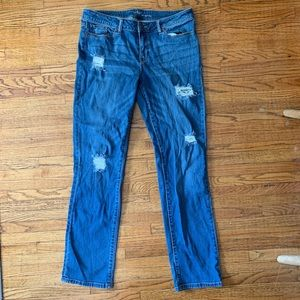 NEW YORK & COMPANY DISTRESSED DARK WASH JEANS
